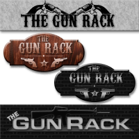 Different versions of the logo created for The Gun Rack forum that my husband runs.  The bottom is the one they are using currently.