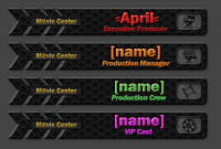 Customized promotional staff banners for Movie Center, a forum inspired by film & TV discussion.