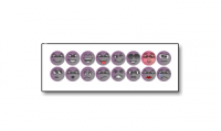 Set of purple forum emoticons, initially created for a design forum.
