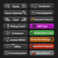 User rank buttons created for Movie Center, a forum inspired by film & TV discussion.