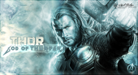 Desktop wallpaper featuring Thor from The Avengers.