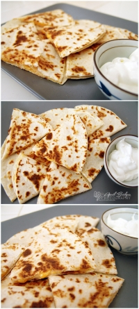Cheese Quesadilla Triangles with Sour Cream
