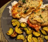 Chicken Marsala with skillet zucchini, from Hello Fresh.