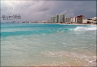 The beautiful clear blue water of Cancun.