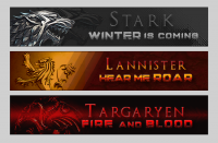Simplistic banners inspired by the final season of 'Game of Thrones'